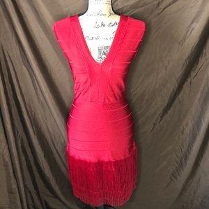 VENUS Red Fringe Dress